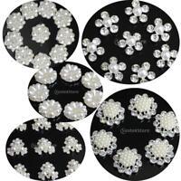 10pcs Silver Rhinestone Flatback Pearl Embellishment for Wedding Decor DIY Craft