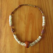 Old African Trade Bead Necklace Amber Butterscotch Resin Bauxite Shell Discs