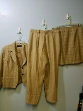 Norton mcnaughton 3 piece jacket skirt pants size 12 petite brown black stripe #