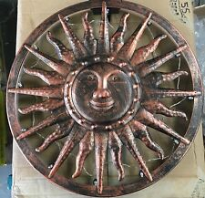 LARGE Vintage Antique Bronze Metal SUN Garden Wall Art 12 Solar LED Lights NEW