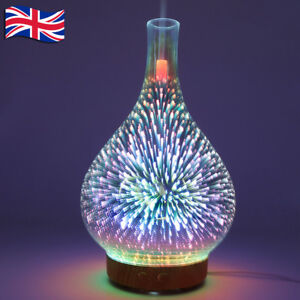 3D Glass Firework Colorful LED Aromatherapy Essential Oil Diffuser Humidifier UK