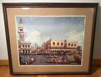 Vintage Canal At St Mark Venice Painting Print Windsor Art Product Wood Framed