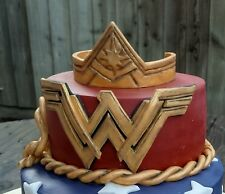 Wonder woman crown and symbol Handmade edible cake topper birthday unofficial