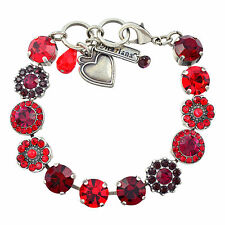 """MARIANA """"Lady in Red"""" Tennis Bracelet, Gold Plated, 8"""" 4045/1 1070"""