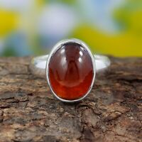 Hessonite Garnet Ring - 925 Sterling Silver Handmade Ring Size 6