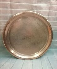 """Vintage 12.25"""" Round Copper Serving Tray Embossed with Floral Designs"""