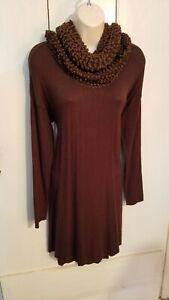 Simply Noelle Brown Soft Sparkle Boucle Knit Cowl Neck Womens Dress L XL (12-14)