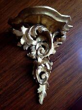 Petite console ancienne en bois doré-Style rocaille-Socle-Statue ou pendule