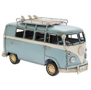 VINTAGE BLUE VW CAMPER VAN METAL / TIN ORNAMENT - VINTAGE TRANSPORT LP45716