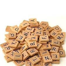 100pcs Wooden Alphabet Scrabble Tiles Black Letters With Letter Values Crafts LG