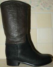 $1625 NEW CHANEL Black Dark Brown Two tone CC logo Riding High Flat BOOTS 36.5 6