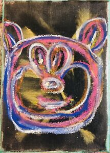 MR CLEVER ART SPACE DOG BLACK PAINTING contemporary abstract avant garde pop art