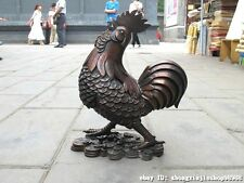 China Red Bronze exquisite carve Lucky Wealth Money chanticleer chicken statue