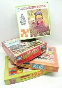 VTG Junior Guild Children's Jigsaw Puzzles (Lot of 4 Boxes) (2 63 Ct & 2 150 Ct)