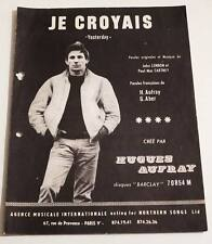 Partition sheet music HUGUES AUFRAY : Je Croyais (Yesterday) * 60's BEATLES