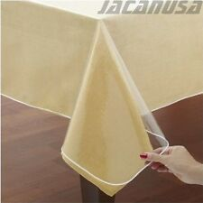 Crystal Clear Vinyl Tablecloth Protector Double Hammed Border Assorted Shapes