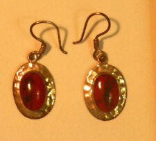 Gold Earrings Vintage Dangle type w oval red gemstone from or before 1979 EUC