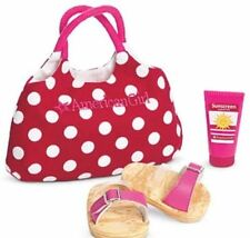 New American Girl Doll Swim Tote Gear Red White Polka Dot Bag Sunscreen Sandals