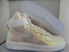 "NIKE AIR FORCE 1 HI HIGH PREMIUM PRM ""IRIDESCENT"" WHITE-SILVER SZ 7 [704516-100]"