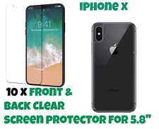 10 x Front and Back LCD Screen Protector Guard for Apple iPhone X for 5.8""