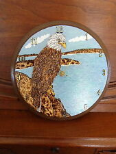 "11"" Round Wood Burned/Hand-Painted Bald Eagle Clock/Folk Art/Rustic"