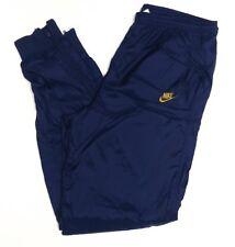 Vtg 80s 90s Nike Mens Track Pants Blue Gold M Nylon Swoosh Logo Zip Cuffs