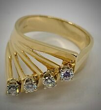 Modern, Architectural Diamond Fan Ring Sz 6.25 in Cascading Angles of 14KYG 6.9g