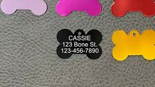 USA Made Laser Engraved Bone Pet Dog Cat Name Tag Ring Included 10 Colors!