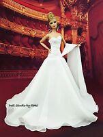 White Chiffon Ball Gown Evening Dress Outfit Barbie Silkstone Fashion Royalty FR