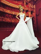 White Chiffon Gown Evening Dress Outfit Fits Barbie Silkstone Fashion Royalty FR