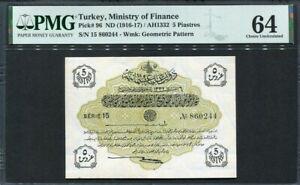 Turkey 1916-1917, 5 Piastres, P96, PMG 64  UNC