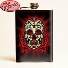 Sugar Skull Flask Day Of The Dead Tattoo Punk Rockabilly Liquor Beer Alcohol Emo