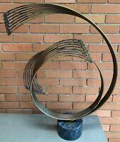 Vintage Curtis Jeré Circular Spiral Brutalist Brass Sculpture Mid Century Modern