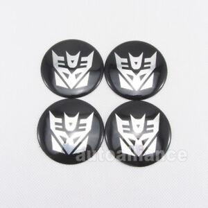 4pcs Car Transformer Decepticons Logo Wheel Center Hub Cap Badge Sticker Decal