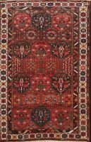 Antique Tribal Geometric Bakhtiari Vegetable Dye Area Rug Wool Hand-knotted 7x10