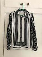 New York And Company Womens Size Xsmall Striped Long Sleeve Button Up Blouse