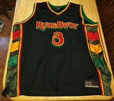 RARE Mens Selah Int'l RUDE BWOY #3 Rasta Camo STITCHED Basketball Jersey 5XL