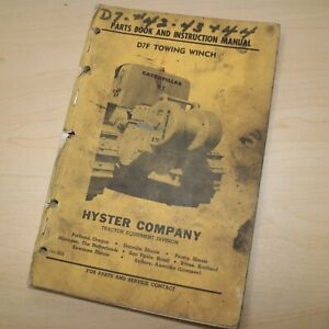 D7F CAT CATERPILLAR Tractor HYSTER Winch Owner Parts Manual Operation List Book