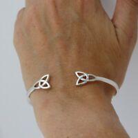 Celtic Knot Trinity Open Cuff Bracelet - 925 Sterling Silver - Irish Scottish