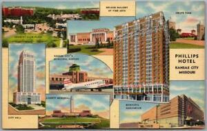 Vintage 1940s KANSAS CITY Missouri Postcard PHILLIPS HOTEL Multi-View Linen