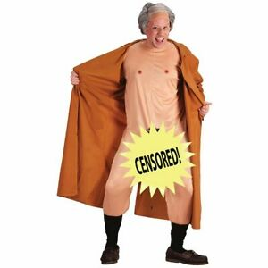 Frank The Flasher Adult Mens Costume Trench Coat with Nude Body Suit Wig Grandpa