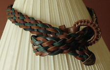 Two-Color Genuine Leather Braided Belt ~ Size ML ~ Made in Guatemala