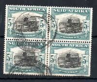 South Africa 1949 5/- fine used block SG#122 WS13634