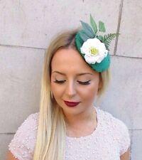 Emerald Green Ivory Velvet Rose Flower Leaf Fascinator Headpiece Hair Clip 2555
