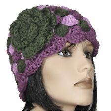 cappello berretto donna lana realizzato a mano all uncinetto VIOLA VERDE a3e1255569ba