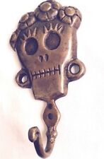 Skull Head Sculpture Statue Figure Skeleton Coat Hook Pure Bronze All Metal