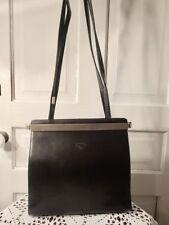 Vintage Davey Dey Black Genuine Leather & Brass German Designer Purse LM24