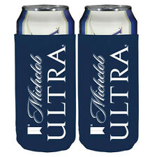 2 New Real Deal Michelob Ultra Slim Can and Bottle Lay Flat Foldable Koozie