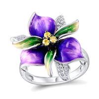 Elegant Purple Flower Rhinestone Women Finger Ring Wedding Party Jewelry Trendy