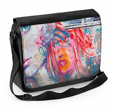 Woman with Orange Face Graffiti Laptop Messenger Bag